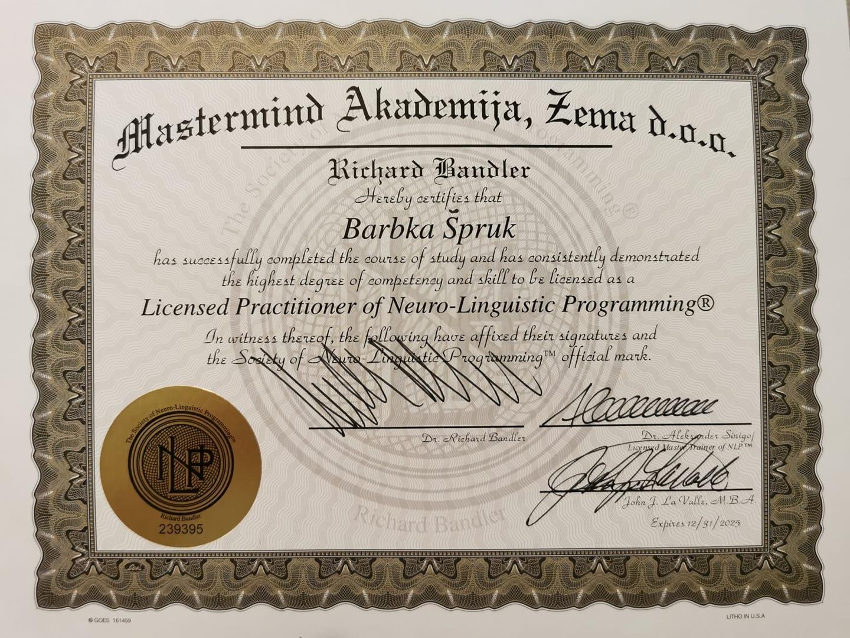 Read more about the article Postala sem Certificiran in licenciran NLP Praktik